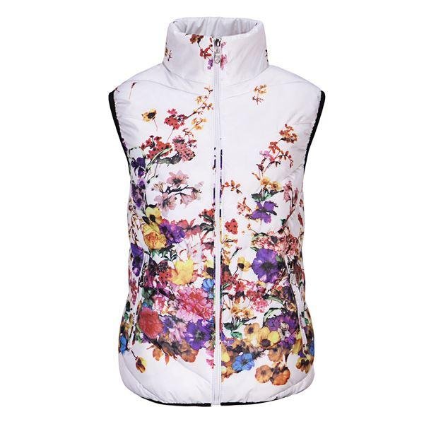 Winter Women S Vest Cotton Down Printed Flowers Women Sleeveless