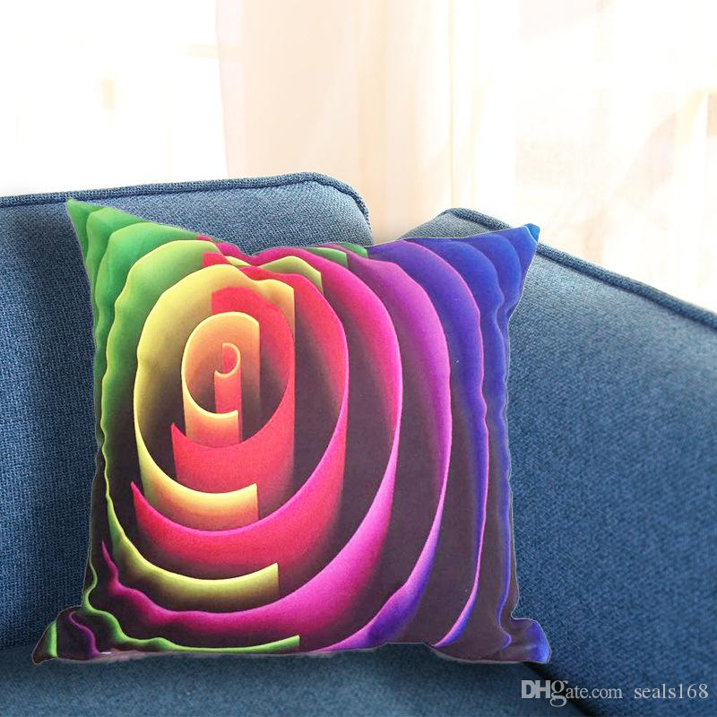 45*45cm 3D Pillow Case Car Sofa Square Cushion Cover Pattern Printed Decor Decorative Home Throw Pillow case Silk Pillowcase Linen HH-P10