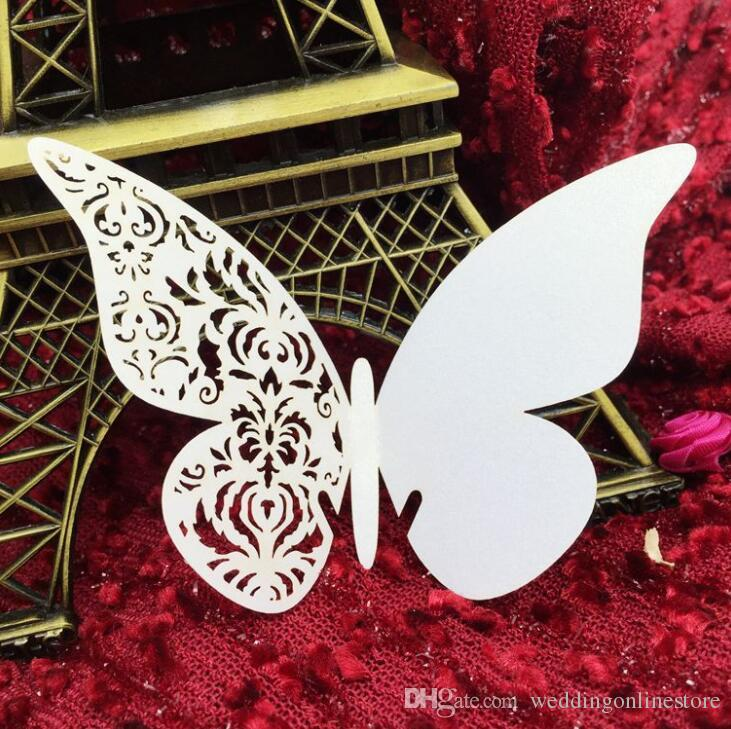 Laser Cut Cute Hollow Butterfly Paper Place Card Escort Card Cup Card Wine Glass Cards Paper carve name and date for Wedding Decorations