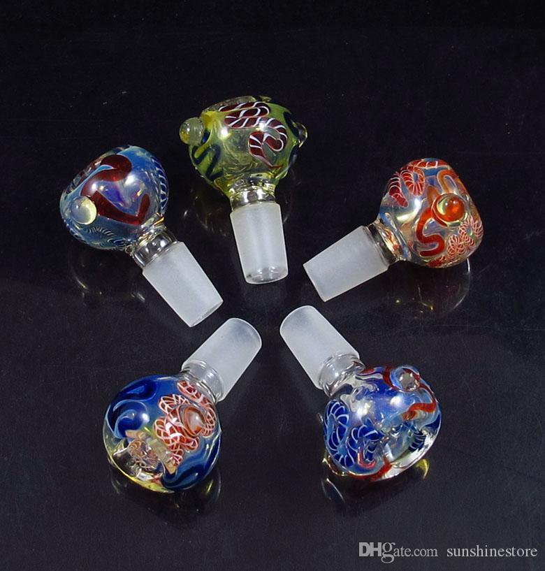 14mm, 19 mm dentro la ciotola di vetro della ciotola di vetro dei colori misti del tubo del fumo il tubo dell'acqua di Bong