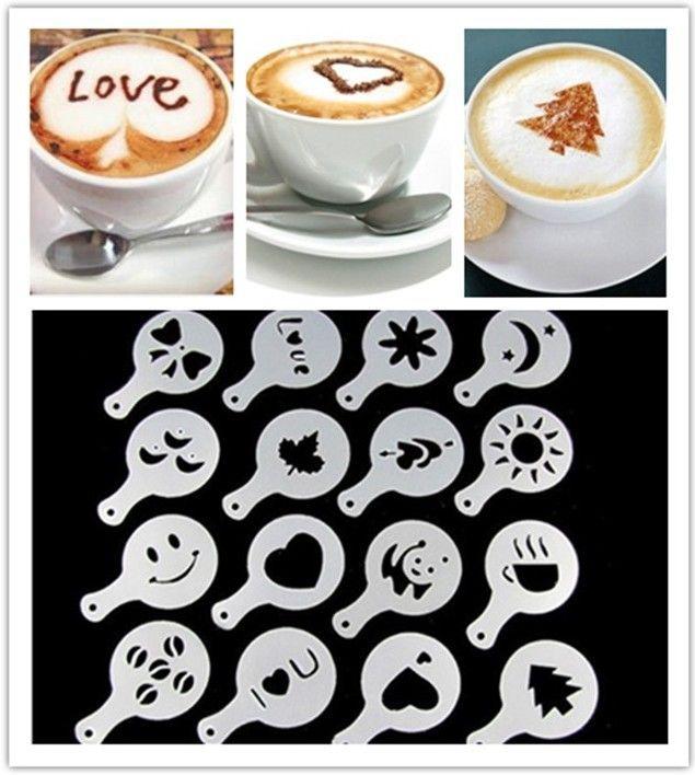 Deals Ocean Mold Coffee Milk Cupcake Stencil Barista Cappuccino Plastic Template Strew Pad Duster Spray Tools New 1 8tt R