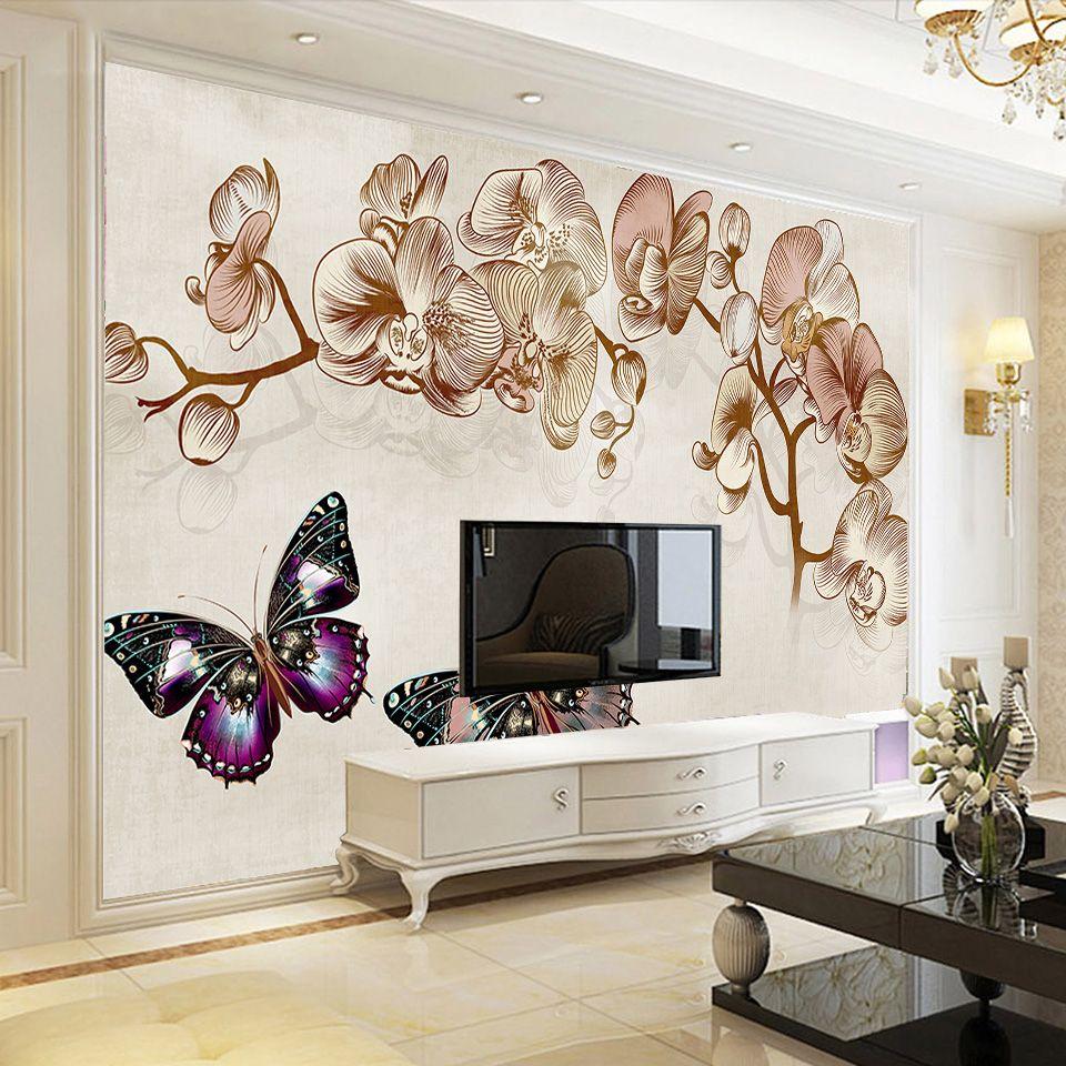 Özel Fotoğraf Kağıdı Duvar Duvar Sticker için Avrupa Çiçekler Kelebek TV Wall3d kağıdı odası toptan Ev Dekorasyon