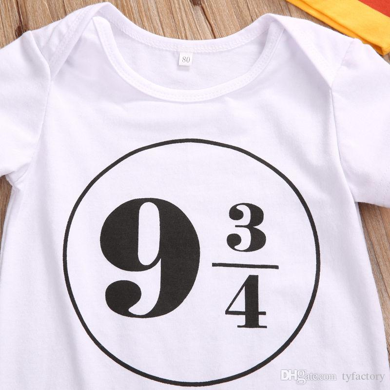 2017 패션 수학 괴짜 아기 복장 아이 소녀 소년 해리 포터 의상 복장 0-18M 짧은 소매 흰색 Romper + 바지 레깅스 + 모자 세트