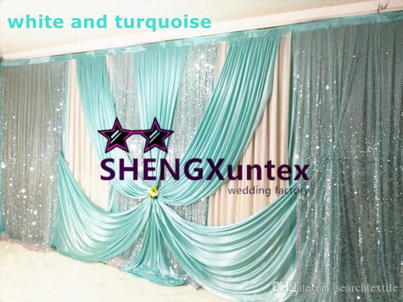 White Color Wedding Backdrop Curtain With Sequin Fabric Drape Best Quality