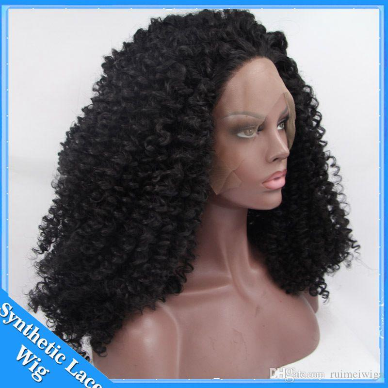 Hair Long Afro Kinky Curly Synthetic Wigs For Black Women Natural Black Hair Cosplay Kanekalon Lace Front Hair Wig