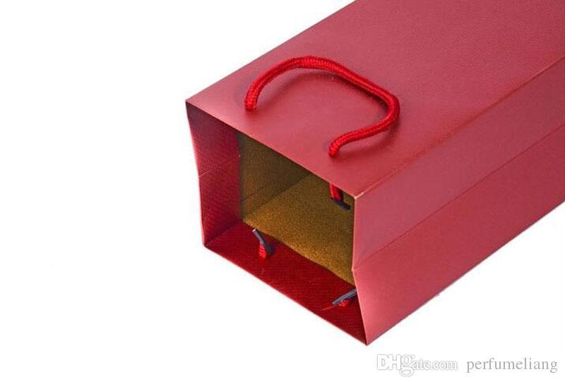 14,5 * 11,5 * 36,5 cm Handwerk Papier Geschenktüte Bowknot Decor Doppel Weinflasche Mit Griff Weihnachten Hochzeit Gefälligkeiten ZA4035