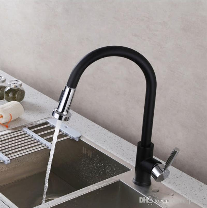 Pull Out Sprayer Kitchen Faucet Chrome Deck Mounted 360 Degree Antique White Black Sink Water Mixer Tap
