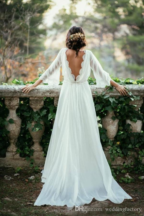 Precioso vestido de boda de país Bohemio Boho Vestidos de novia Bateau Cuello Mangas de campana Sin respaldo Novias Desgaste formal Reborde de encaje Borde tren Tren