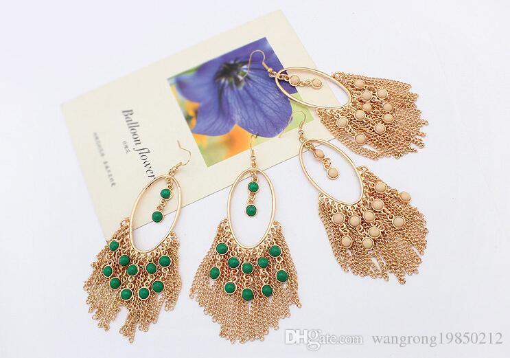 Estate nuovi orecchini nappa Bohemian Lunga temperamento moda orecchini di colore di contrasto Lungo temperam molti stili