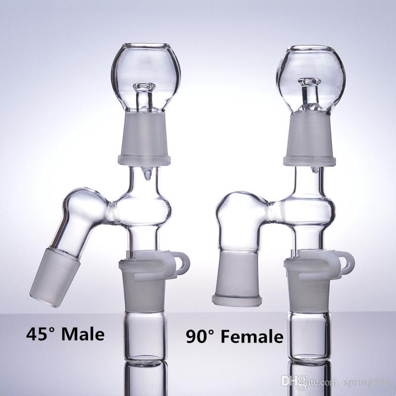45 ° 90 ° Acessórios para bongos Adaptador de apanhador de cinzas 14mm Macho 18mm Dobradeira de óleo para mulher dab cachimbos de água 18.8mm
