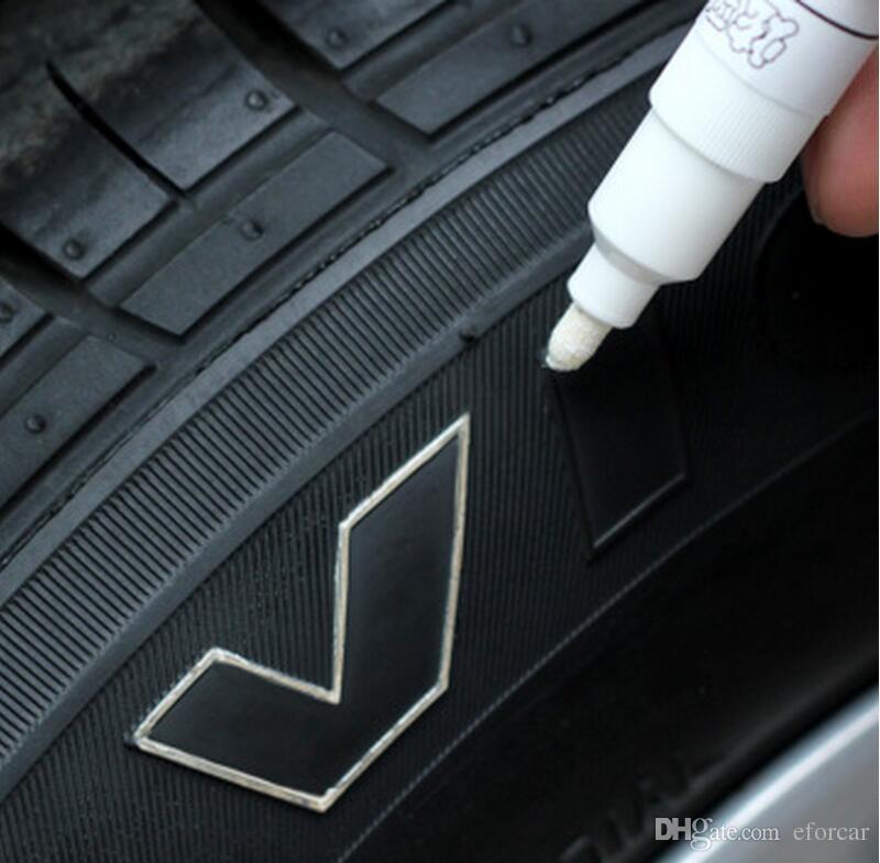 Rotulador a prueba de agua Neumático Neumático Llanta de rodadura Goma permanente Sin desvanecimiento Rotulador Lápiz de pintura Color blanco puede Marcas en la mayoría de las superficies