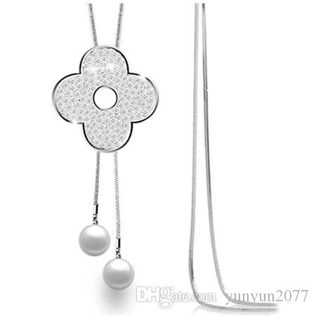 Fashion Accessories Jewelry Czech Crystal Plum Blossom Flower Clover Pendant Pearls Bead Real Gold Plating Charm Sweater Necklaces For Women