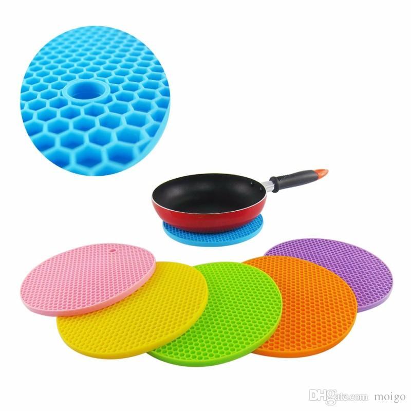 Tappetino rotondo in silicone con tappetino padelle Pentola con ciotole tappetino in coaster antiscivolo