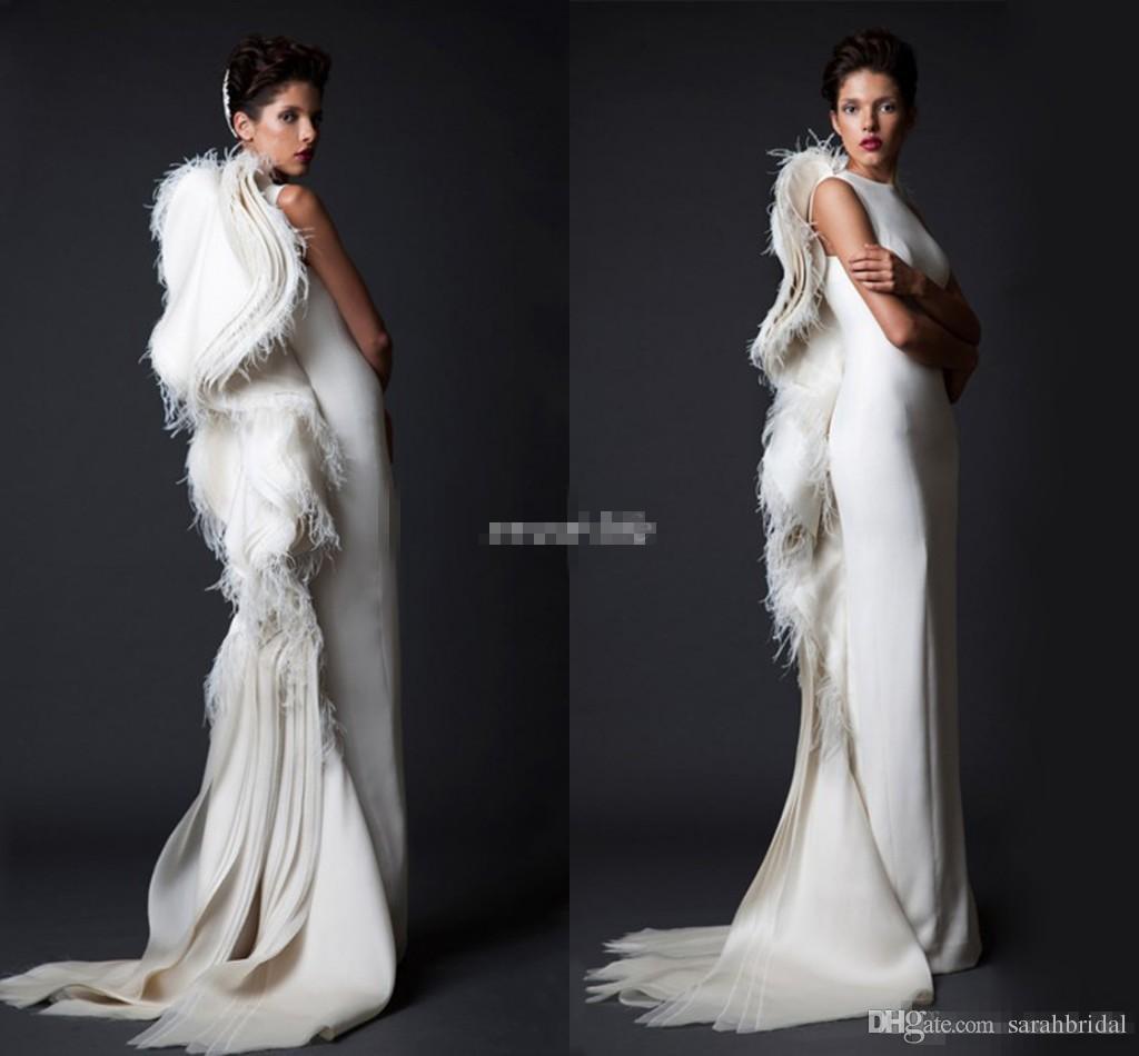 Krikor Jabotian Ivory Feather Mujeres Vestidos de noche formales Volantes con volantes Satén 2019 Vestidos de disfraces árabes Vestido largo para fiestas de ocasión Vintage