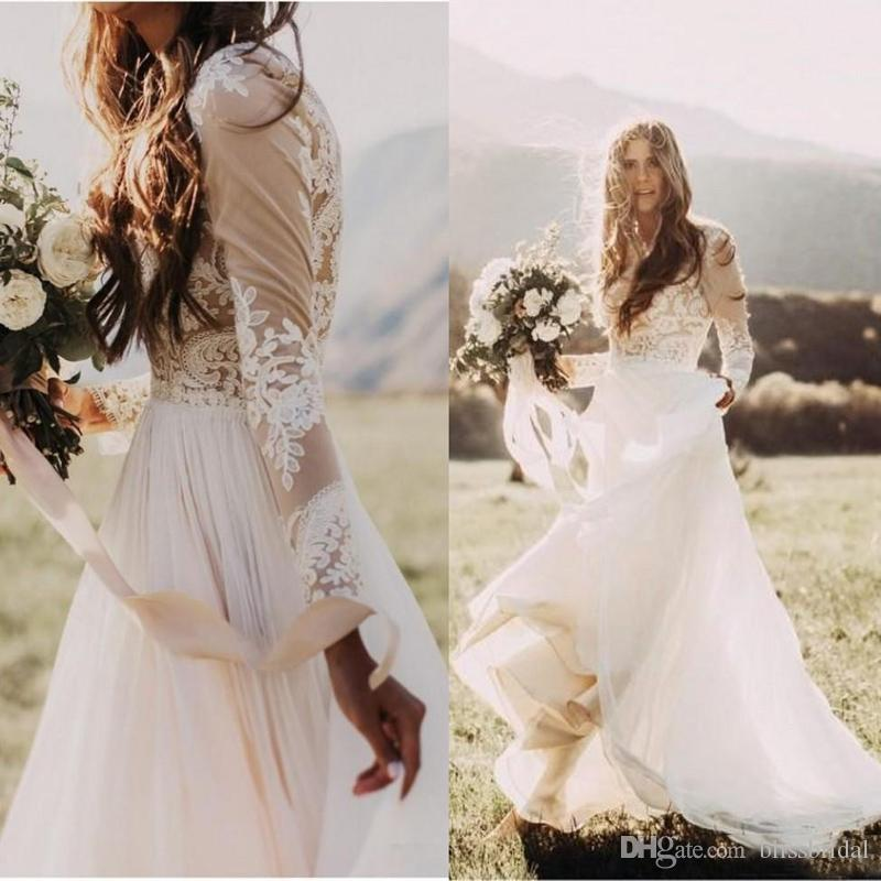 Where To Buy Non Traditional Wedding Dresses: Bohemian Country Wedding Dresses With Sheer Long Sleeves