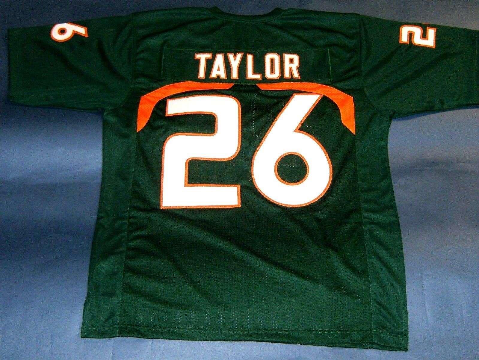7ad99f14f ... 2017 Cheap Retro 26 Sean Taylor Custom University Of Miami Hurricanes  Jersey Green Mens Stitching Throwback ...