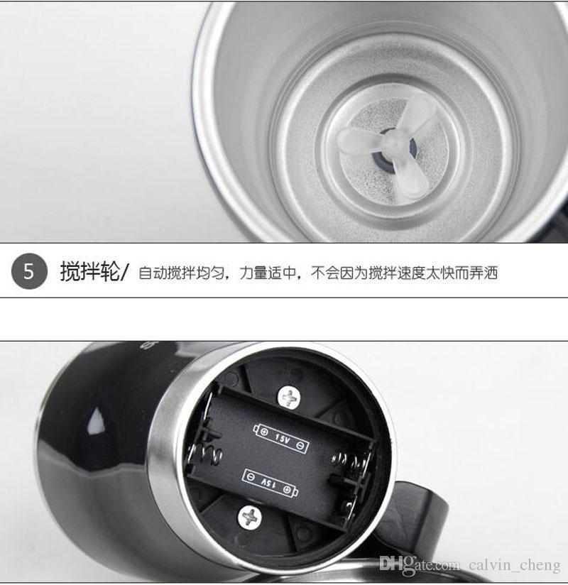 Самостоятельно помешивая пищевой ранг PP красочные поверхности из нержавеющей стали сам перемешивая кружка кофе DHL бесплатная доставка