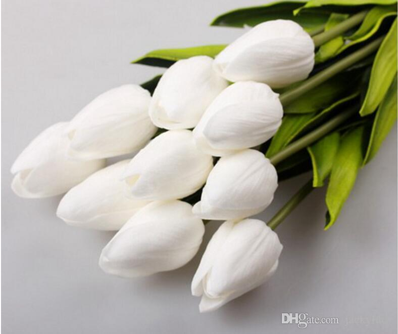100 Teile / los Tulpe Künstliche Blumen Großhandel Real Touch PU Künstliche Blumenstrauß Für Hauptgeschenk Hochzeit Dekorative Blumen