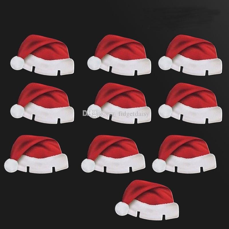 2017 YENI 10 adet / grup Noel Şapka Şampanya Şarap Cam Kapaklar Noel Tatil Parti Masa Süslemeleri karton Yer Kartları