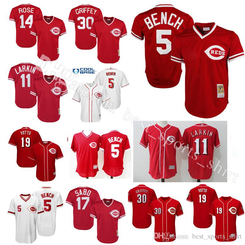 c9a5ca52 ... Cool Base Stitched Youth MLB Jersey 5 Johnny Bench Jersey 11 Barry  Larkin Cincinnati Reds 19 Joey Votto 30 Ken Griffey Jr ...