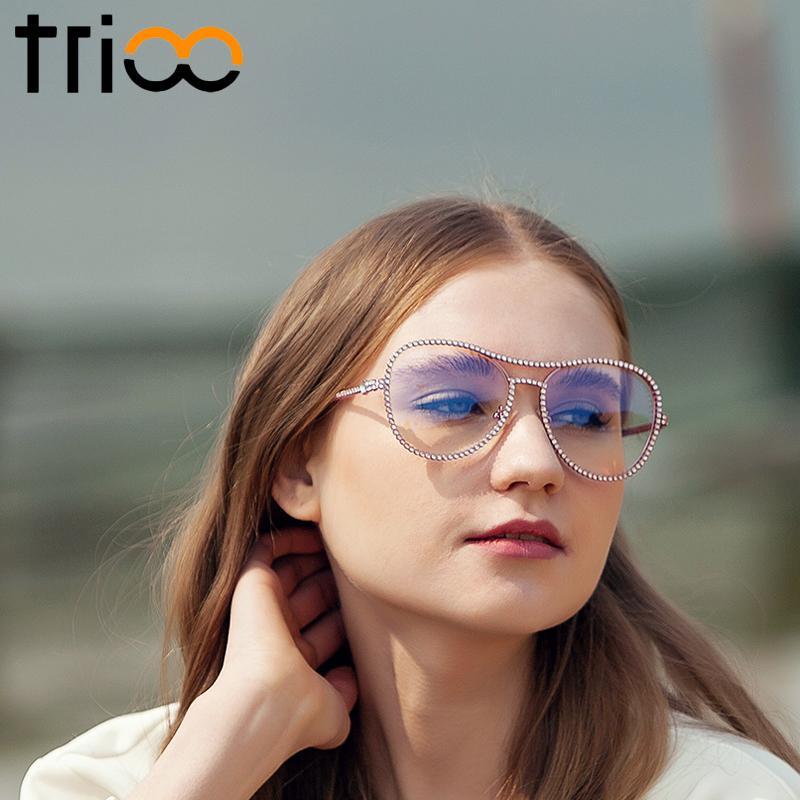 fd0e9fc438 Wholesale- TRIOO Fashion Pink Women Glasses Decorative Rhinestone ...