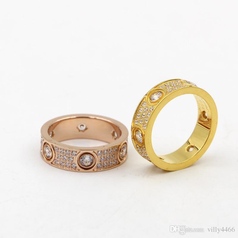 2017 Top Qualität 316L titanium stahl Liebe ringe liebhaber Band Ringe Größe für Frauen und Männer in 6mm breite mit drei linien diamant Schmuck
