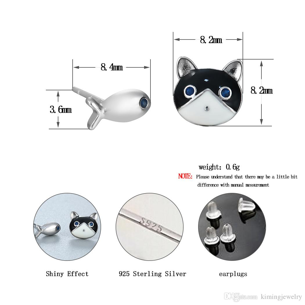 Hot Sale 925 Sterling Silver Jewelry Earrings Lovely Cat Fish Silver Stud Earrings Women Statement Pendientes de plata
