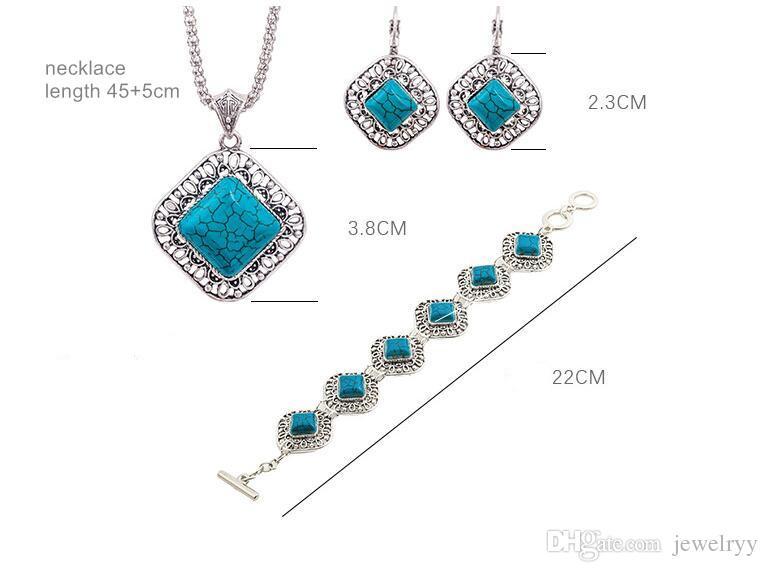 Women Bohemian Jewelry Set Retro Blue Turquoise Pendant Necklace Earrings Bracelet Jewelry Set for Party Jewelry Gift