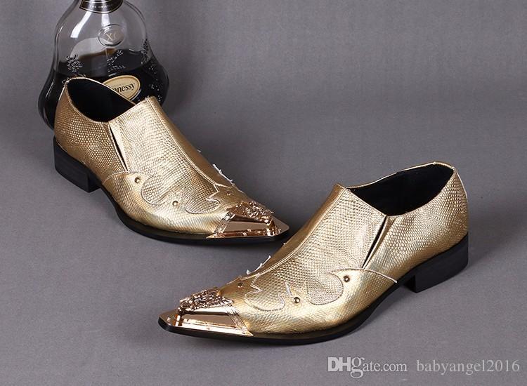 Christia Bella Luxus Männer Spitz Echtes Leder Schuhe Gold Party Hochzeit Schuhe Business Formelle Kleidung Schuhe für Männer Wohnungen