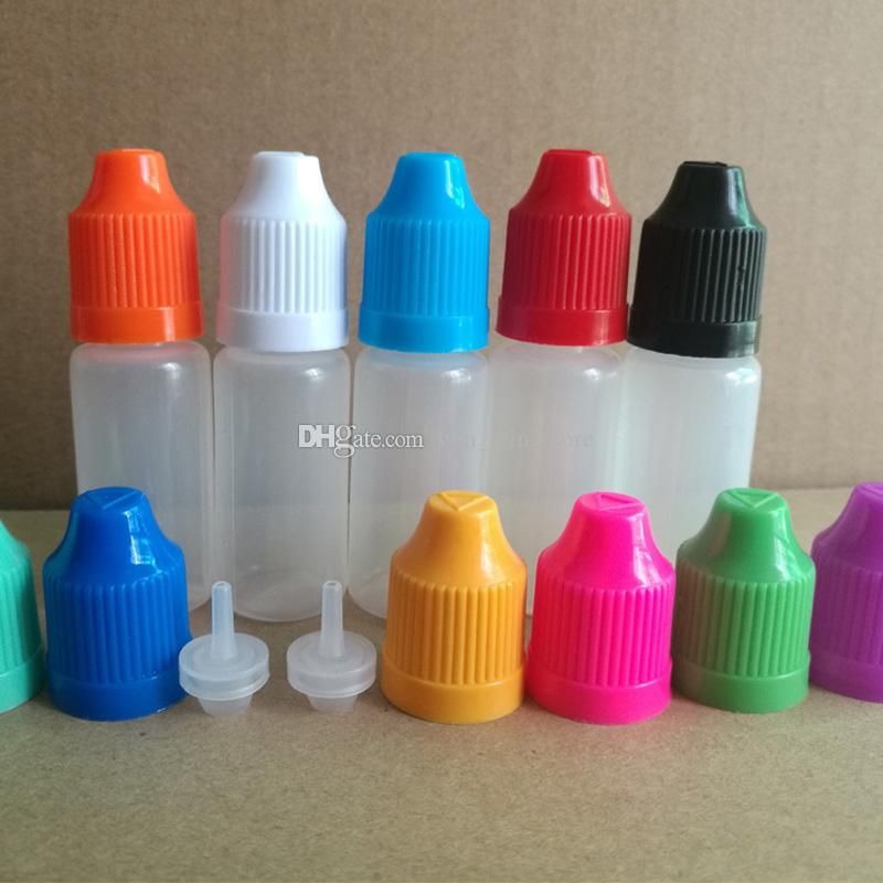 En Kaliteli E sıvı Şişe 10 ml PE / PET Plastik damlalık şişeler ile Çocuk Proof kapakları ve Elektronik Sigara için FedEx üzerinden ince ipuçları
