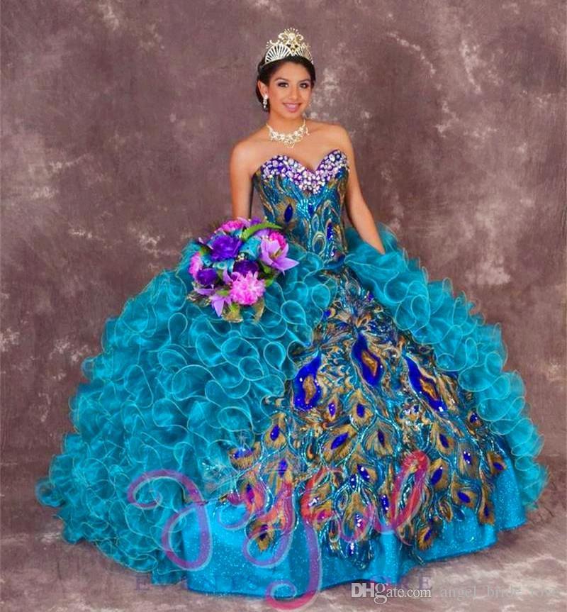 2017 새로운 섹시한 공작 공 가운 자수 Quinceanera 드레스와 비즈 달콤한 16 드레스 15 년 예복 가운 QS1004