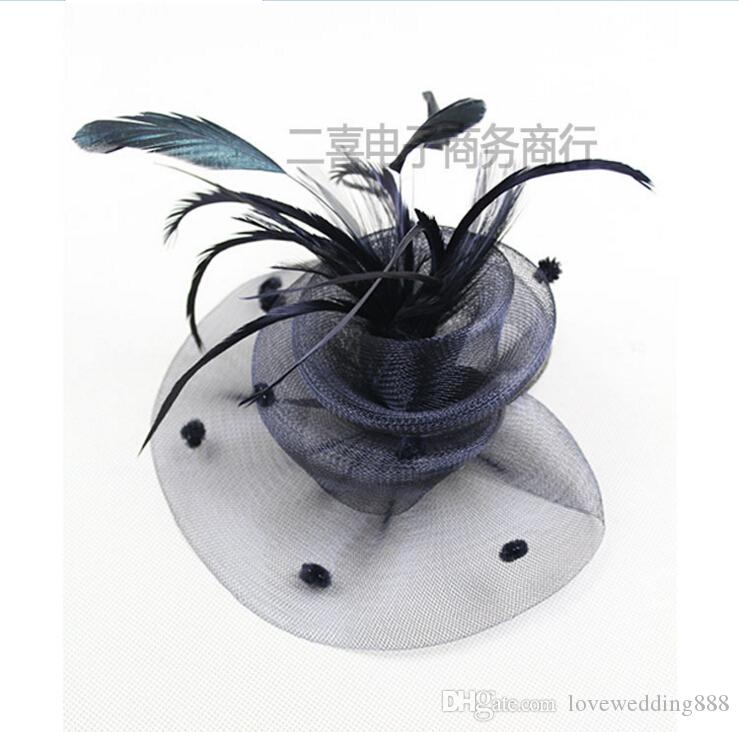 Sinamay Fascinator Hats With Feather With Two Layered Wedding Hats Hair Clips Head Ornaments Beautiful Ladies Hair Accessories