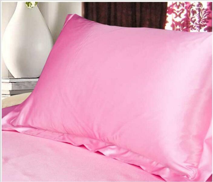 Eco Friendly Cor Sólida PillowCases De Seda Dupla Face Envelope Design Fronha de Alta Qualidade Charmeuse Silk Cetim Fronha