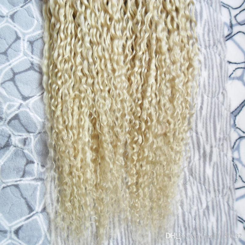Blonde human hair Keratin stick tip hair extensions 200s curly keratin bond hair extensions pre bonded u tip extensions 200g kinky curly