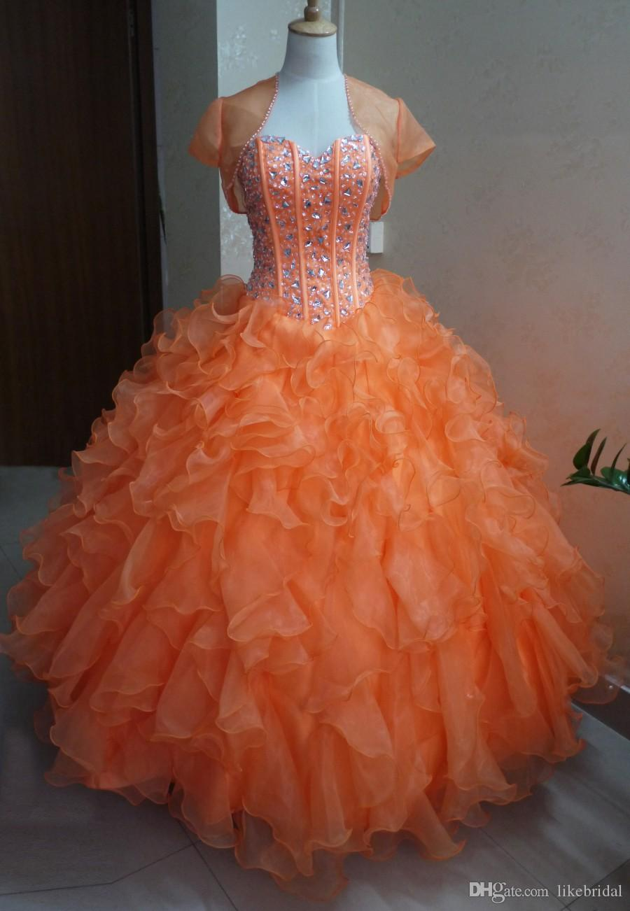 2017 Latest Ball Gown Sweetheart Orange Quinceanera Dresses Ruffles Organza Crystals Beaded Short Sleeves Quinceanera Gowns for Girls
