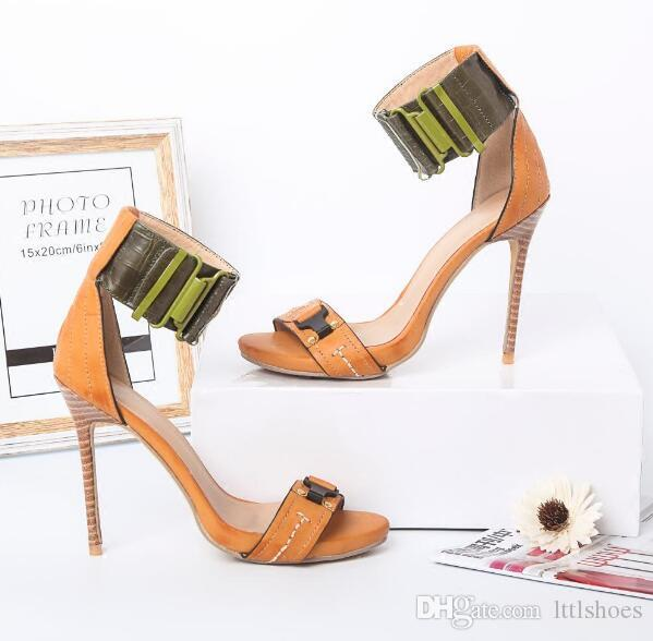 Estilo romano Una palabra Correa Sandalias Hebilla de tobillo femenino Abrigo Sandalia Sexy Tacón alto Banquete Estiletes Marrón Vestido Zapatos de fiesta Mujer