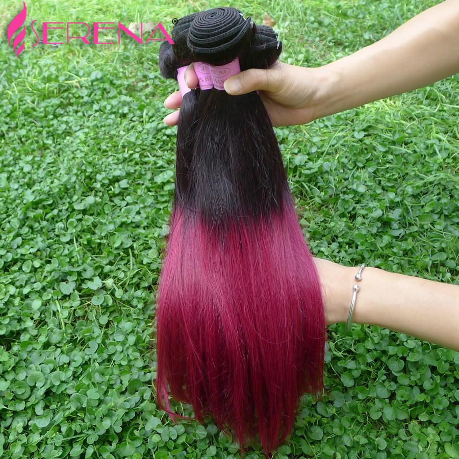 Mink Brazilian Virgin Hair Straight Hair Weaves With Closure 1b 99J Burgundy Ombre Lace Closure With Bundles Ombre Two Tone Human Hair Weave