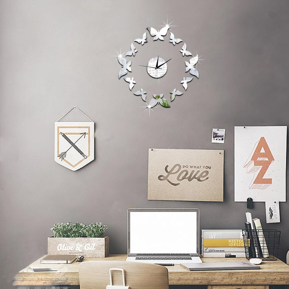 Butterfly Wall Mirror Clocks Sticker Home Decoration Butterflies Mirrored Wall Decal Clock On The Wall Art Fish Wall Stickers Floral Wall Decals From ... & Butterfly Wall Mirror Clocks Sticker Home Decoration Butterflies ...