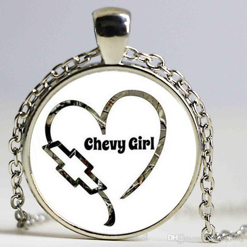 Chevy Girl Silver Choker Necklace 2016 Jewelry Heart Art Glass Cabochon Dome Letter Pendants Necklaces Jewelry
