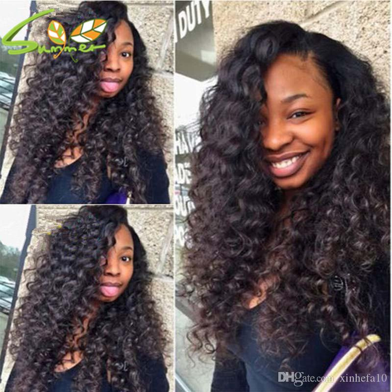 Top quality 130% density deep wave lace front Brazilian Virign human hair wigs full lace wig for black women