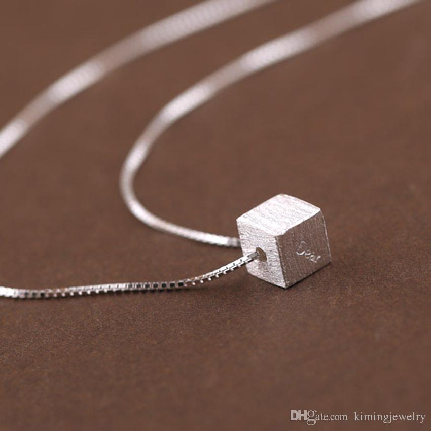 / Real Pure 925 Sterling Silver Dear grabado en el collar colgante del cubo para las mujeres joyería de plata