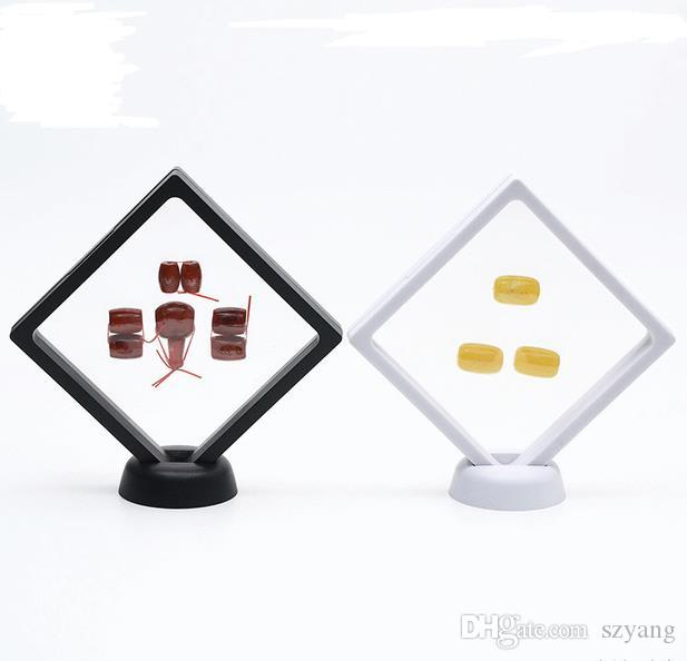PET Membrane Jewelry Ring Pendant Display Stand Holder Bague Packaging Box Protect Jewellery & Stones Floating Presentation Case
