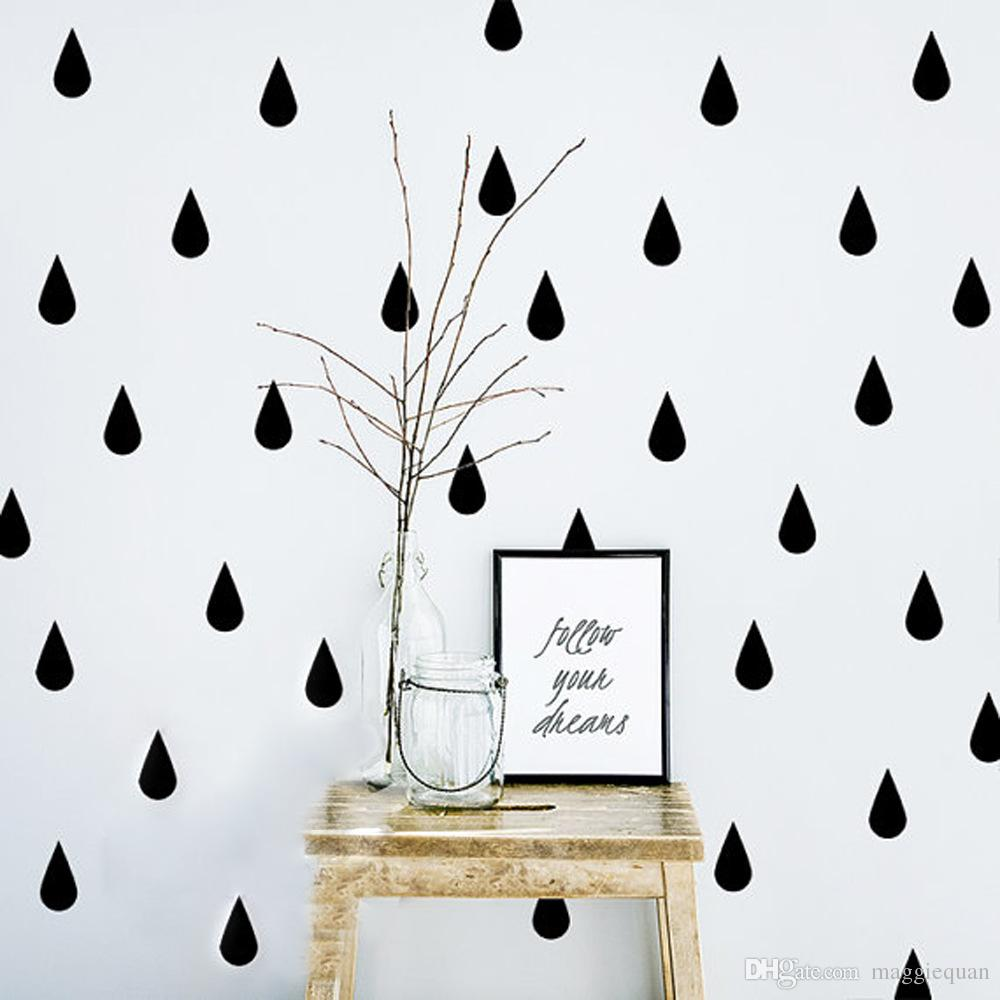Raindrop vinyl wall stickers black and white instagram design new removable wall decals waterdrop wallpaper home decoration wall peels wall phrases stickers