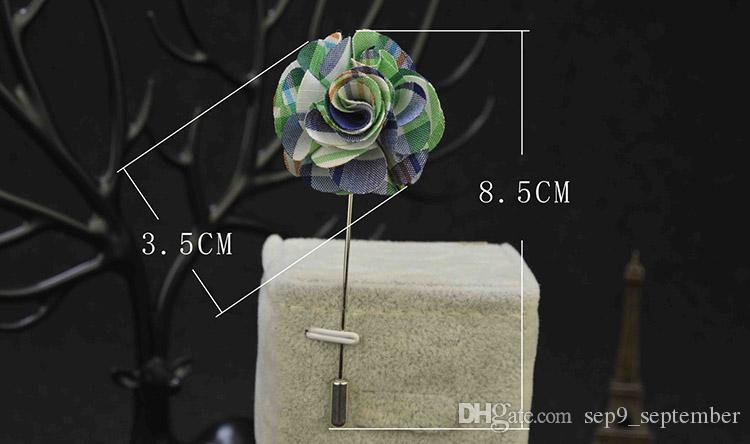 Handmade Flower Brooches Vintage Multicolor Boutonniere Stick Brooch Pin Exquisite Brooch for Men Women Suit Lapel Pin