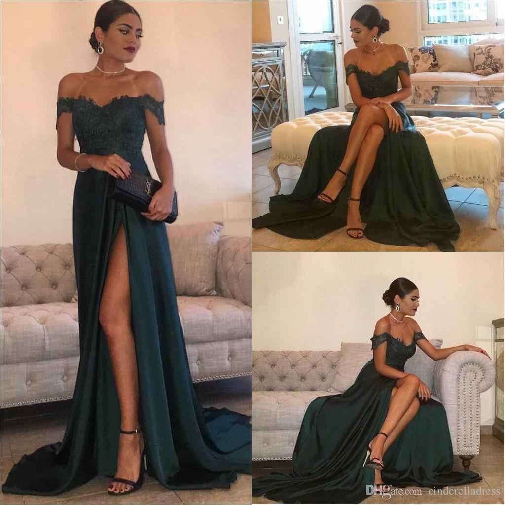 4879a058b45 2019 Sexy A Line Prom Dresses Hunter Green High Split Cutout Side Slit Lace  Top Evening Gown Sexy Off The Shoulder Formal Party Dress BA5320 On Sale  Prom ...