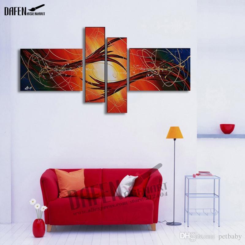 Handgemalte Abstrakte Leinwand Ölgemälde Moderne Abstrakte Wandkunst Bild Große Rote Gemälde für Wohnzimmer Wohnkultur Kunst