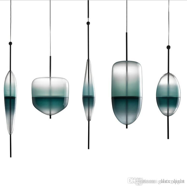 gradient glass led pendant l blue white flow pendant lights