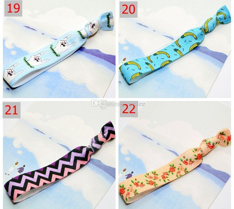 / 25 색 옵션 INS 여성 Chevron 매듭 리본 프린트 모발 타이 포니 테일 홀더 Stretchy Elastic Letter Floral Headbands