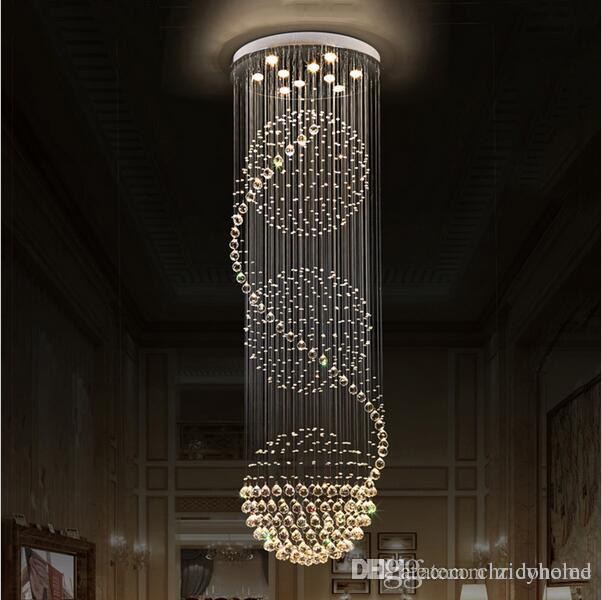Led crystal chandeliers lights stairs hanging light lamp indoor lighting decoration with d70cm h200cm chandelier light fixtures crystal chandeliers stairs