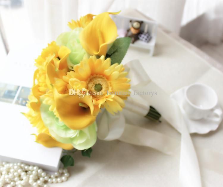 Yellow Bride Holding Bouquet Artificial Cascading Graceful Calla lily Silk Wedding Quality Flowers 24cm Diameter New
